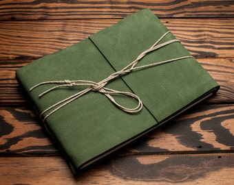 Leather Journal or Leather Sketchbook, Large Sized, Green Leather Handbound Photo Album