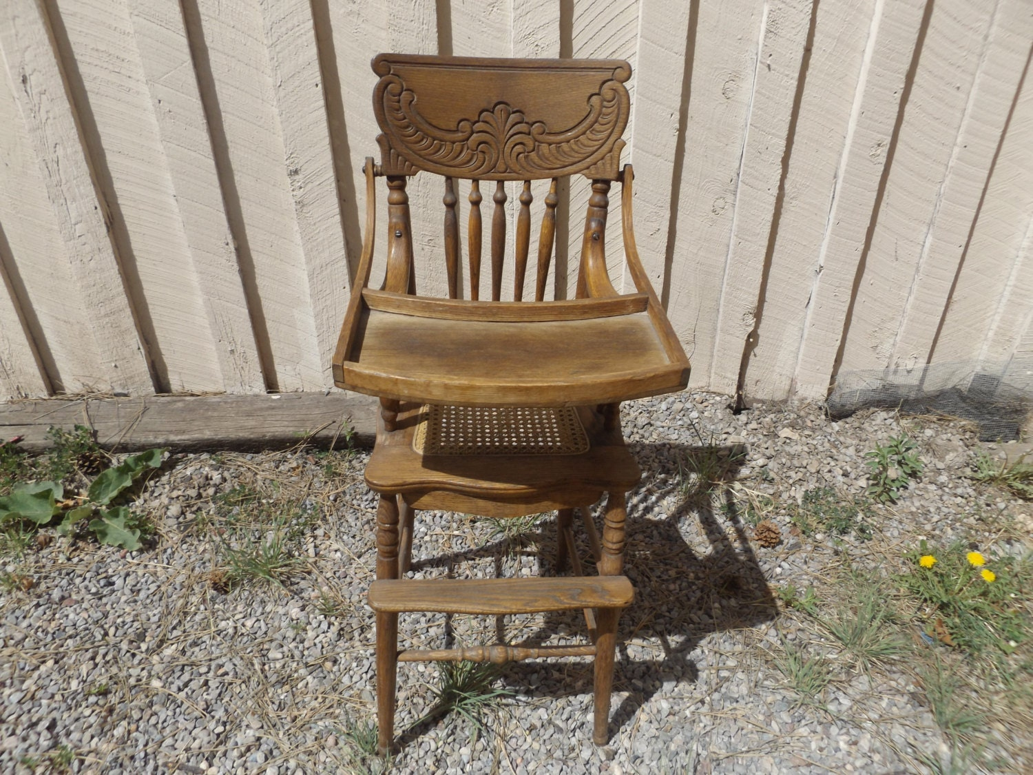Vintage Antique Oak Wood Baby High Chair With Wicker Seat