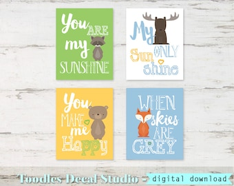 Woodland Printable for Boys Room, You are My Sunshine Prints, Boys Forest Wall Art, Animal Wall Art, Instant Download, Boys Nursery Quotes