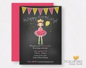 Personalized Birthday Party Digital Invitation - Girl's Birthday/Princess Party/Chalkboard Style (Style 13496)