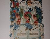 01 Large RARE antique 3D stand up valentine greeting card blue flowers boy 1930s paper art supplies vintage