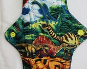 Kiki Mama Cloth Menstrual Pad Size Regular Dinosaurs ~ Woven Cotton