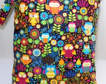 "Large wet bag. 13"" X 16"". Owls and Flowers print .Heat sealed seams. Ready to Ship"