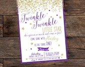 Digital Birthday Invitation, Twinkle Twinkle Little Star, Pink Birthday Invitation, Glitter Birthday Invitation, Purple and Gold Birthday
