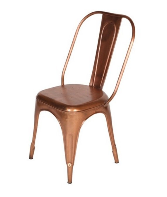 Custom Copper Tolix Style Dining High Back Side Chair
