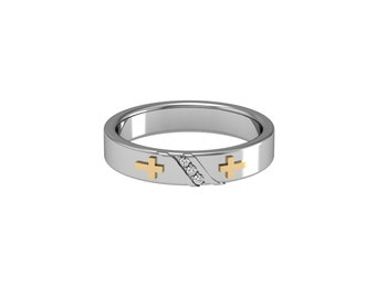 Cross Diamond Diagonal Band Solid White Yellow Rose Gold 4mm wide | made to order for you within 5-7 business days