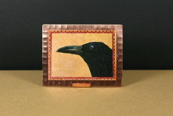 Raven Miniature Art Print on Copper