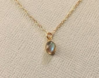 Labradorite Necklace in Gold -Gold Labradorite Necklace Tiny Oval Labradorite Pendant Necklace in Gold