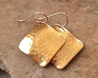 Hammered Brass Earrings with Gold Fill Ear Wires -Gold Hammered Earrings - Gold Geometric Earrings