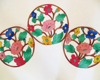 Vintage Doilies, Handmade Table Linens, 3 Piece Set Appliqued Embroidered Flowers, Cutwork Flowers, Linen Doilies, Retro Mid Century, Unused