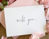 Cute Will You Be My Bridesmaid Cards, Chic Handwritten Script Maid of Honor, Matron Wedding Party, Bridesman, Flower Girl Card (Set of 7)