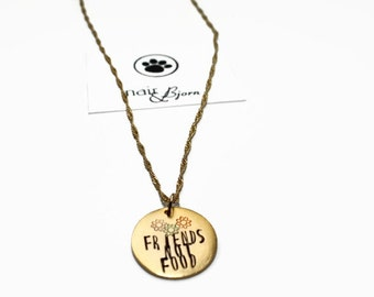 Friends Not Food Necklace - Vegans, vegetarians, vegetarian jewelry, animallovers, animallover jewelry, gold, doglovers, fight for animals