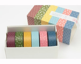 ON SALE Japanese Washi Masking Tape Box Set - mt Japanese Traditional Pattern - Ver. 3 - 11 Yards (each roll) - 6 Rolls