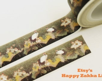 Red-crowned Crane - Japanese Washi Masking Tape - 11 yards