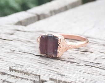 Rough Triple Pink Tourmaline Ring | Electroformed Mineral Jewelry | Raw Stone Jewelry | Raw Stone Ring | Pink Tourmaline Jewelry