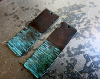 """Rustic Copper Earring Rectangles Pair, Hammered Lines, Copper 1/2"""" x 1 1/2"""", Handmade Findings, Choice of Finish"""