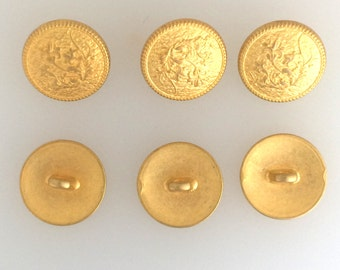 Gold plated emblem button set of 6 :item # 2496