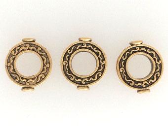 Antique brass circular bead pack of 3 : item #2547