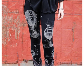 Hot Air Balloon Leggings - Womens Legging - BLACK - Tights - OZ - xLARGE plus size legging