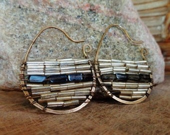 Tahoe. Handmade Artisan Gold Brass Hoop Earrings with Wire Wrapped Smoky Quartz and Gold Glass Bugle Beads-Boho Gypsy Artisan Statement