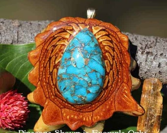 Blue Mohave Turquoise Third Eye Pinecone Pendant