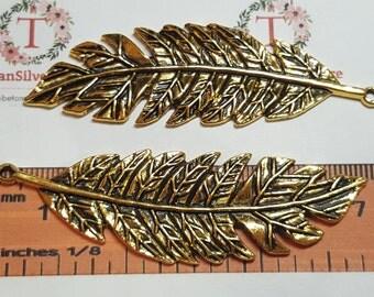 2 pcs per pack 71x22mm Antique Gold Large Fleaf Lead Free Pewter.