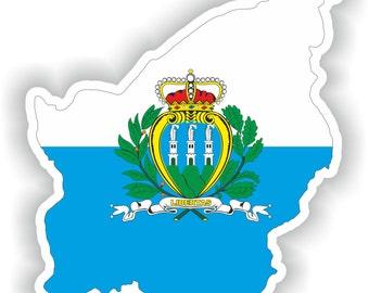 San Marino Map Flag Silhouette Sticker for Laptop Book Fridge Guitar Motorcycle Helmet ToolBox Door PC Boat