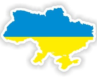 Ukraine Map Flag Silhouette Sticker for Laptop Book Fridge Guitar Motorcycle Helmet ToolBox Door PC Boat