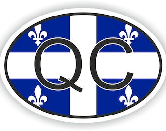 Quebec QC Country Code Oval Sticker with Flag for Bumper Laptop Book Fridge Helmet ToolBox Door PC Hard Hat Tool Box Locker Truck