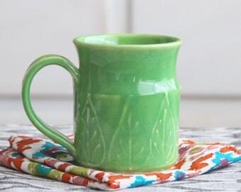 Handmade Mug - Stoneware Coffee Cup - Key Lime 12 oz. - One of a Kind OOAK - Ready to Ship