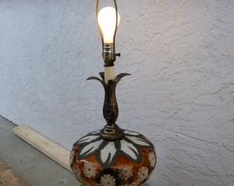 Vintage Amber Glass Floral Embellished Table Lamp, Lighting