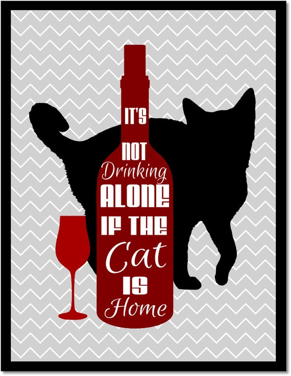 Cat gifts wine drinker gift kitchen wall art it 39 s not Gifts for kitchen lovers