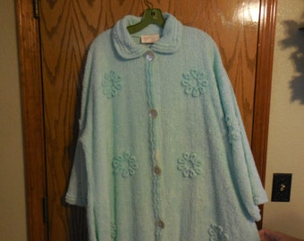 Vintage Stan Herman / Herbcraft AQUA Button Down Chenille ROBE with Flowers - Vintage Aqua Chenille BATHROBE - Large - Free Shipping