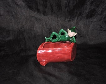 Vintage 50s Green Pixie Elf Laying on a Red Log Ceramic Planter Flower Vase Christmas Garden Elves