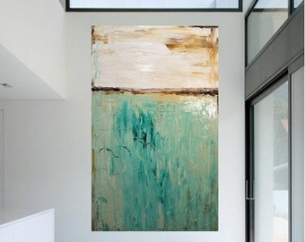 Sale Modern 48 x 36 deep gallery canvas Abstract painting,Original comtemporary Art,lots of texture Ready to hang  by Nicolette Vaughan Horn