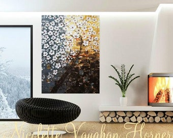 Sale ENORMOUS ORIGINAL gallery canvas-Textured,seafoam,white,rust,grey abstract  White Blossom Tree Of Life painting by Nicolette Vaughan Ho