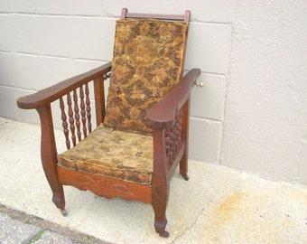 Antique Morris Chair Childu0027s Oak - ORIGINAL Velvet Excelsior Cushions u0026 Finish - Adjustable Reclining Back & Antique morris chair | Etsy islam-shia.org