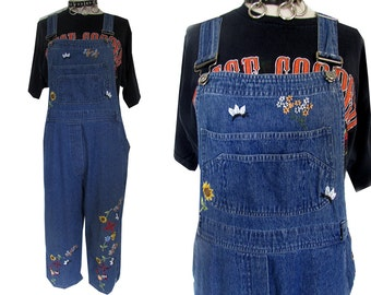 Agapo Denim Floral Embroidered Bumblebee Baggy Wide Legged Overalls Jeans