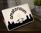 Amsterdam Skyline MacBook Decal 2 | Macbook Sticker | Laptop Decal | Laptop Sticker | Car Sticker
