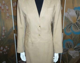 Vintage 1970/1980's Sand Colored Suit - Size 12