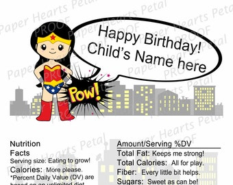 Personalized Wonder Woman- Girl Super Hero - Shower / Birthday Candy Bar Wrapper,  Pack of 25 printed wrappers with foil