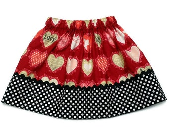 Girls Valentines Day Skirt Hearts Lost and Found Black Polka Dot - Size 6-12 month, 12-18 month, 2 / 3, 4 / 5, 6 / 7, 8 / 9