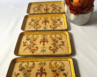 Four Japanese serving trays sushi hand painted vintage gorgeous designs beautiful colors so many uses made in Japan