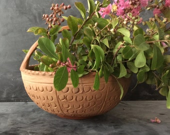 Vintage terra cotta basket planter bowl fruits veggies flowers cactus hand made in Mexico home decor useful kitchen table decor lovely
