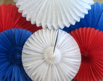 Nautical Decoration Hanging Fans Rosettes 6 Hanging Fans Patriotic Pinwheels Red White and Blue July 4th Favors Party Backdrop Background