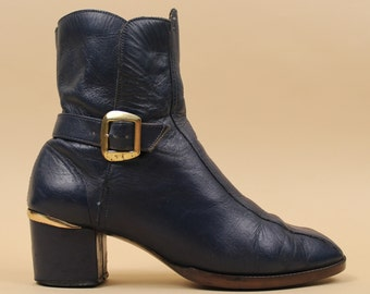 60s 70s Vtg Blue Genuine LEATHER Chelsea Buckle Ankle Boots / MOD Garage GoGo Chunky Platform Heel / 6.5 7 Eu 37 37.5 UK 4.5 5