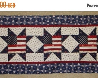 MARDI GRAS SALE Instructions Only -Flag in  stars Patriotic quilted table runner pattern Summer July Year Two