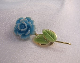 c1940's Austria Molded Flower Brooch with Enameled Leaves