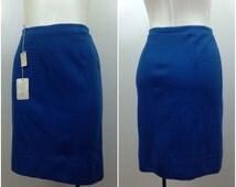 Vintage NOS Deadstock 1950s 1960s Blue High Waist Acrylic Mini Pencil Skirt / Women's Medium / 60s Mod GoGo Rockabilly Skirt Unworn