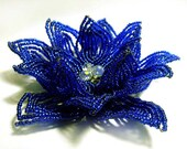 Blue Siam Crystal Floral French Beaded Fascinator - Sparkle Collection